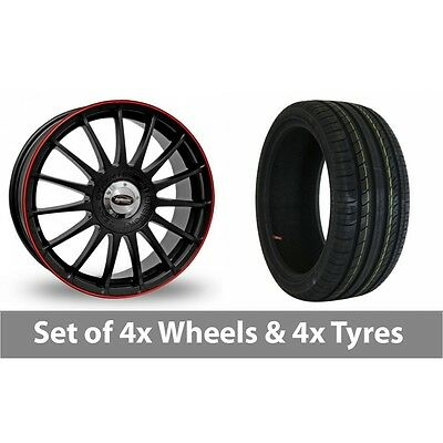 """4 x 18"""" Team Dynamics Monza RS Black Red Alloy Wheel Rims and Tyres -  225/40/18"""