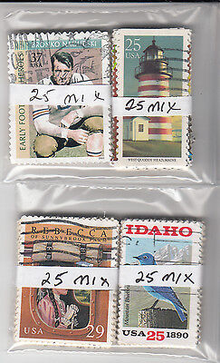 Lot 842-US 100 stamps in four bundles of 25 each.