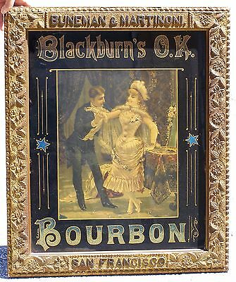 Blackburn's O.K. Bourbon Bar Sign, 1880's, framed. Reverse glass.