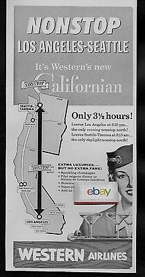 Western Airlines 1954 Californian Seattle Nonstop Los Angeles F/a Champagne Ad