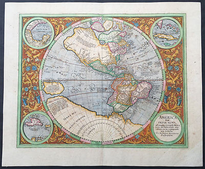 1633 Gerard Mercator Large Old, Antique Map of America - Beautiful Color