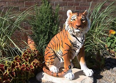 "Large 20"" Tall Bengal Tiger Raja Sitting On Guard Decorative Garden Statue"
