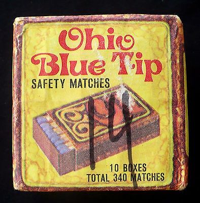 Vintage 1970 Ohio Blue Tip Wooden Matches 10 Boxes In Sealed Paper Package Vgc