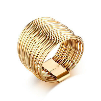 Multilayer 18K Gold Plated Stainless Steel Ring Men/Women's Wedding Band Size6-9