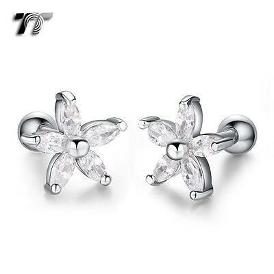 TT Silver Surgical Steel Flower Cartilage Tragus Earrings (TR33S) NEW