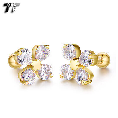 TT Gold Surgical Steel Heart Flower Cartilage Tragus Earrings (TR41J) NEW