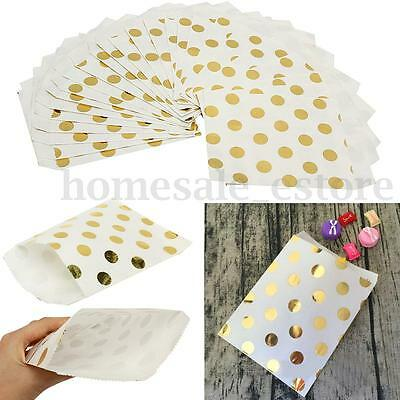 25pcs Foil Gold Polka Dot Wedding Birthday Sweet Favor Gift Paper Party Bags