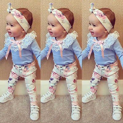 Newborn Toddler Baby Girls Outfits Lace Tops Floral Pants Headband Clothes Set