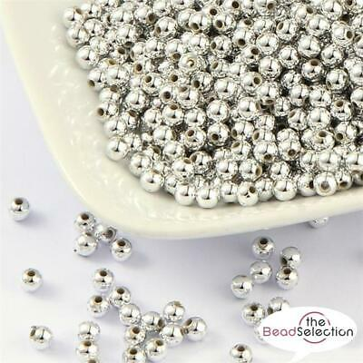 PREMIUM QUALITY SILVER PLATED ACRYLIC SPACER BEADS 4mm 6mm 8mm 10mm 12mm