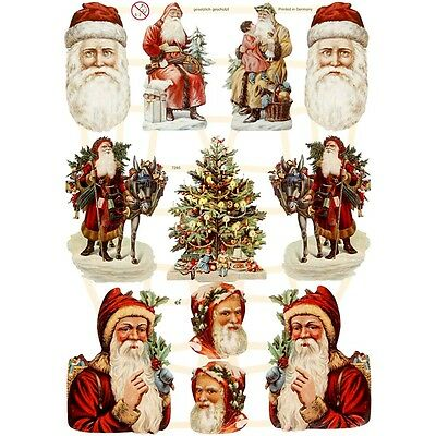Vintage Style Die Cuts Father Christmas 3 Sheets 33 Die Cuts St Nicholas