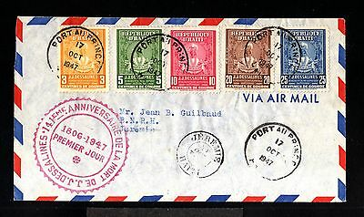 12331-REPUBLIC of HAITI-AIRMAIL FDC.COVER PORT au PRINCE to JEREMIE.1947.WWII