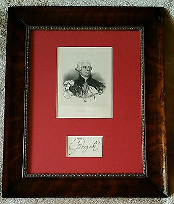 1800s KING GEORGE III SIGNED Partial Page cut w/ 1840 Etching vtg old Auto RARE