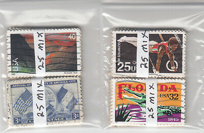 Lot 834-US 100 stamps in four bundles of 25 each.