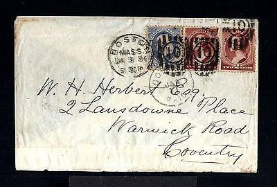 12326-US.USA-OLD Advertising COVER BOSTON to COVENTRY.1884.UNITED STATES.Ciclist