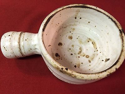 Mid-Century Studio Pottery Bowl With Handle Signed