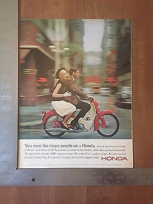 1965 - Honda Ad - Vintage Print Advertising - Motorcycle - black hat