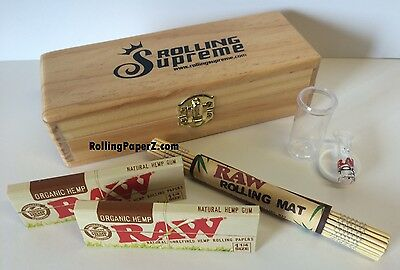 Rolling Supreme Wood Stash Box+TWO PACKS RAW ORGANIC 1 1/4 Size Papers+Glass Tip