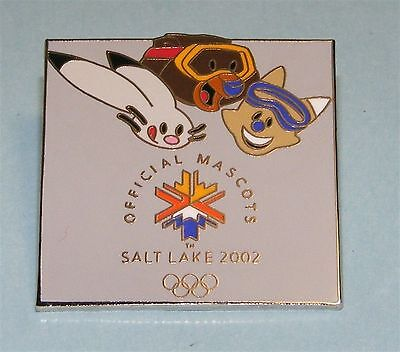 SALT LAKE CITY 2002 Olympic Games Collectible Logo PIN - Mascots SILVER Square