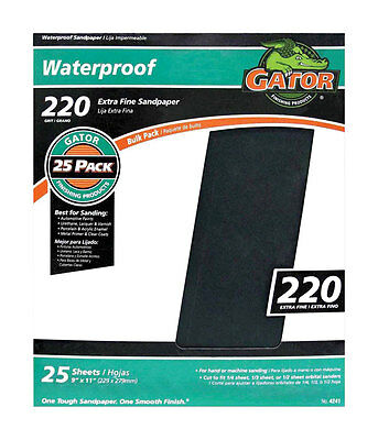 """NEW! GATOR Silicon Carbide Sanding Sheet 11"""" 220 Grit Extra Fine 25-Pack! 4241"""