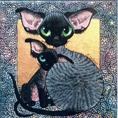 Ltd Edition Devon Rex Cat Kitten Print From Original Painting By Suzanne Le Good