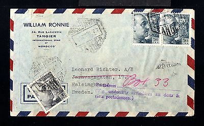 12024-SPANISH MOROCCO-AIRMAIL COVER TANGER to SWEDEN.1952.Tangier.FRANCO.