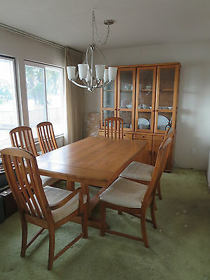 Vintage BROYHILL OAK DINING TABLE & 6 CHAIRS-Modern-EXCELLENT CONDITION-MCM