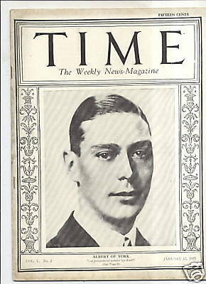 Magazine Time  Albert Of York  January 12 1925
