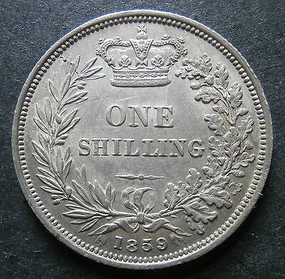 Victoria shilling 1859 - high grade about aUNC - 5 over 5 & doublestruck LL