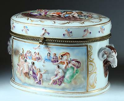 LARGE porcelain CAPODIMONTE Jewelry Trinket Dresser Box Hand-Painted marked