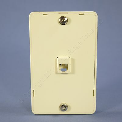 Eagle Almond 4-Conductor Telephone Jack 1G Wall Mounting Plate Type 630A 3521-4A