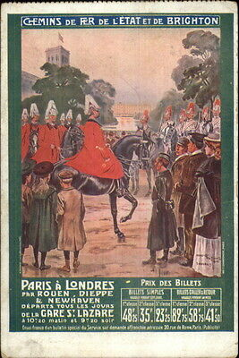 French Railway Adv Brighton - Ticket Prices Soldiers on Horses Postcard