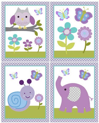 "Set of 4 Unframed ""Dreamland Girl animals""  8x10 Nursery Art Prints So Cute!!"