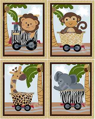 "Set of 4 Unframed ""Safari Express Train Animals""  8x10 inch Nursery Art Prints"
