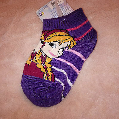 Girls Disney Frozen Anna Purple Ankle Socks Size 2-6X NEW