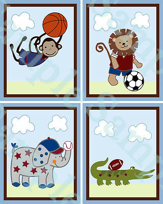 "A set of 4 ""Team Safari Sport Animals"" 8x10 inch Nursery Art Prints"