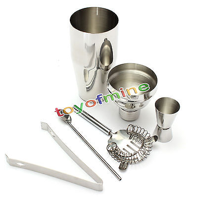 5pcs/Set 250ml Stainless Steel Cocktail Shaker Mixer Drink Bartender Tool Kit