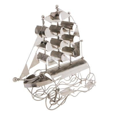 Sailboat Shape Wine Rack Metal Decor Bar Kitchen Holder Storage Spirits
