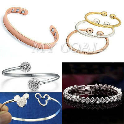 Women Copper Magnetic Therapy Bangle/Silver/Crystal Bracelet Fashion Jewelry