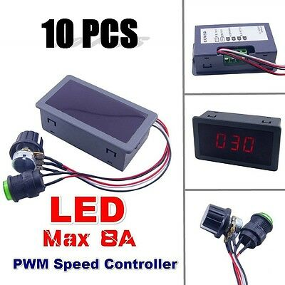 10PC Motor PWM Speed Controller DC 6-30V 12V 24V Max 8A  Digital Display Switch
