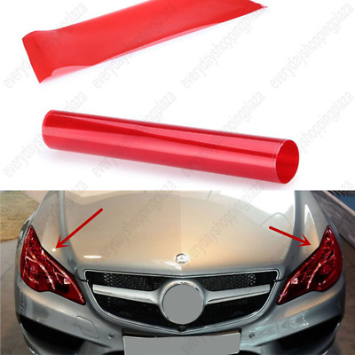 "Bright Red 12"" x 48"" Vinyl Film Tint Cool Car Headlight Taillight Fog Wrap Cover"
