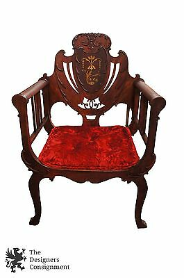 Antique 19th Century Mahogany Shield Back Accent Chair Marquetry Inlay Pearl