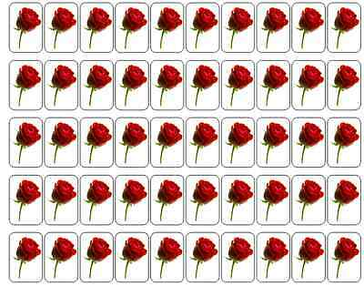 """50 Red Rose Envelope Seals / Labels / Stickers, 1"""" by 1.5"""""""
