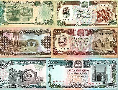 3 TOP DENOMINATIONS from TALIBAN AFGHANISTAN GOVT! GEM UNCIRC! HISTORIC CURRENCY