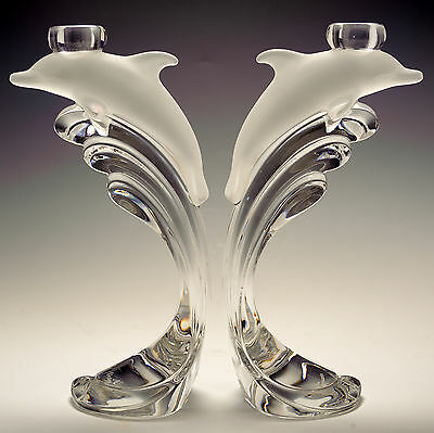 Nachtmann Full Quality Lead Crystal Pr Candlesticks Dolphin Rides the Waves
