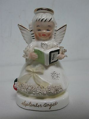 "SWEET VINTAGE NAPCO BACK TO SCHOOL SEPTEMBER ANGEL w SPAGHETTI TRIM 4 1/2"" C1369"