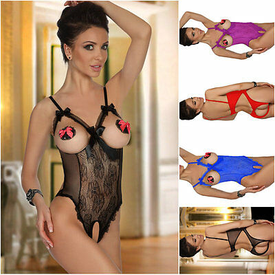 Women's Sexy Lingerie Lace Open Breasts Bra Crotchless Underwear Teddy Nightwear