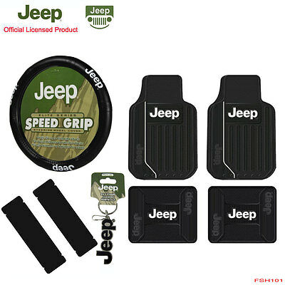 New 5pcs JEEP Elite Style Car Truck All Weather Floor Mats Steering Wheel Cover