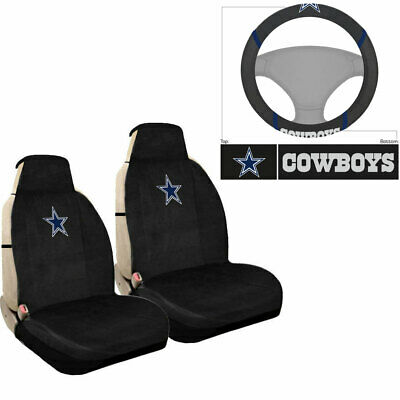 New NFL Dallas Cowboys Car Truck Sideless Seat Covers Steering Wheel Cover Set