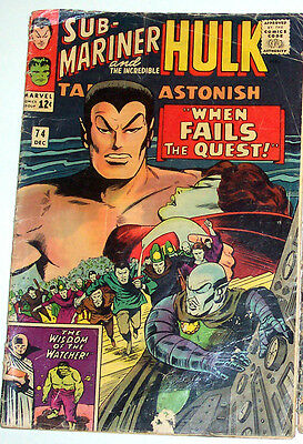 TALES TO ASTONISH #74 (GD/VG) Hulk! Sub-Mariner! Watcher Appearance! 1965