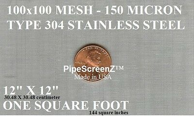 """NEW 12""""x12""""(1sqft)100 Mesh/150 Micron/Stainless Steel SCRATCH BUILDING SCREEN"""